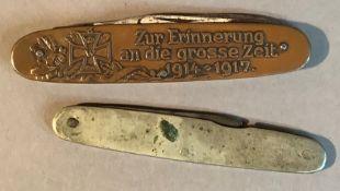 A German WWI Hindenburg copper faced pocket knife, one side with head and shoulder portrait named