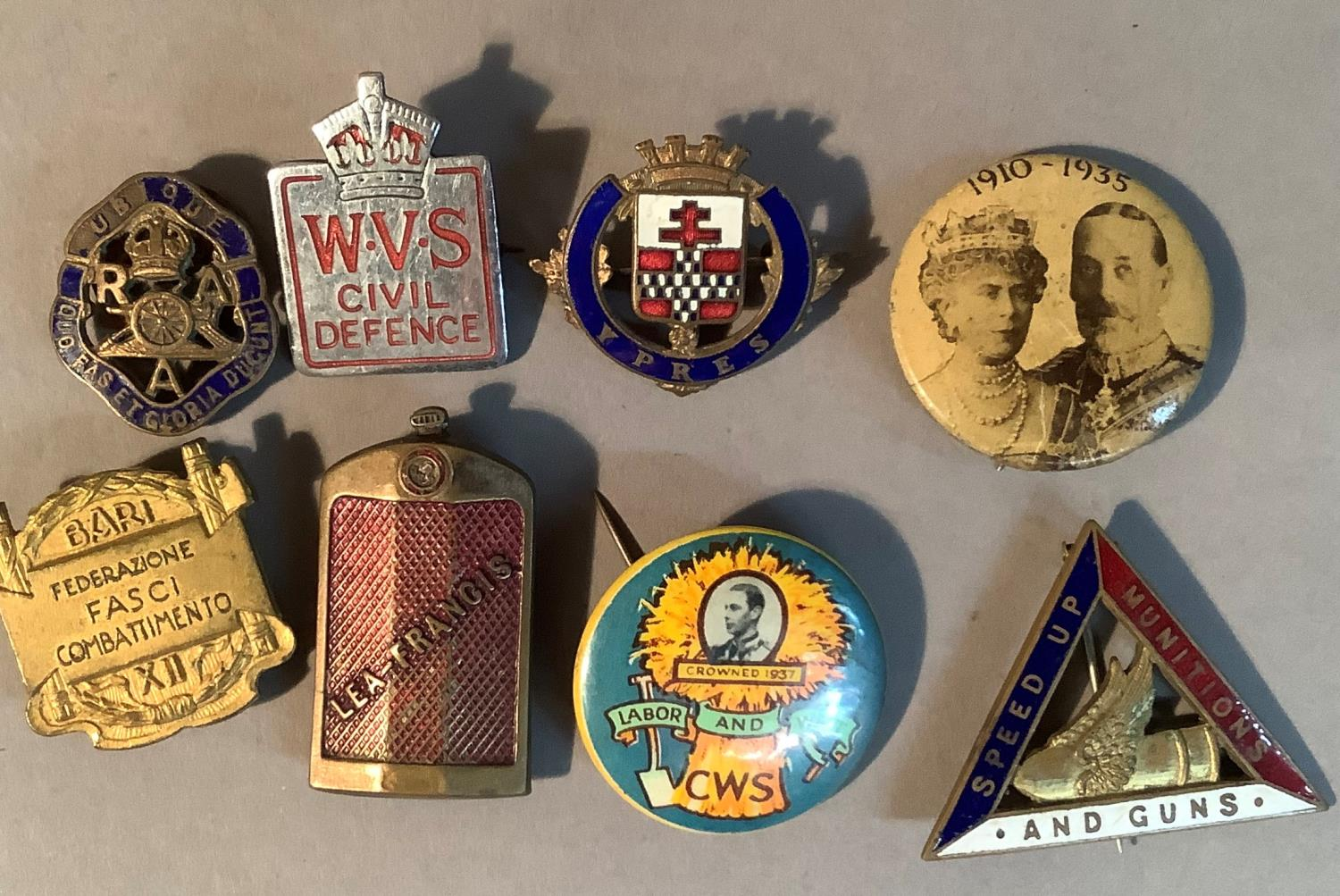 Eight various badges to include WVS Civil Defence, Lea-Francis, 1910-1935 Royal Badge, CWS Labour - Image 2 of 2