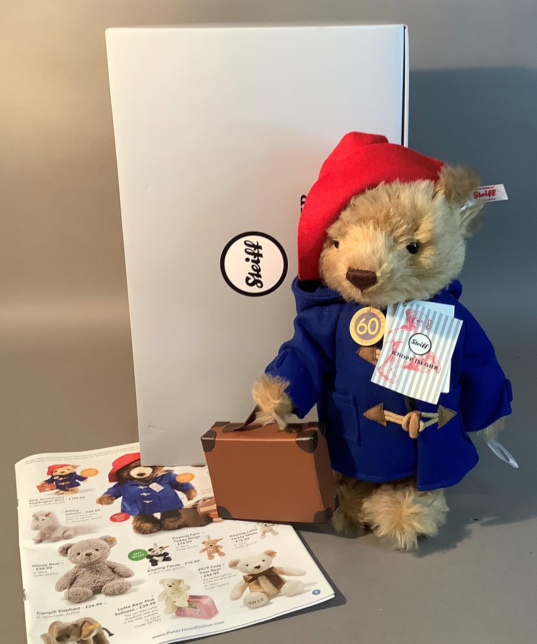 A Steiff limited edition 60th anniversary Paddington Bear, 28cm high, boxed