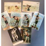 Raphael Kirchner, Enfants de la mer (2), German golden age colour chromolithographic postcards: