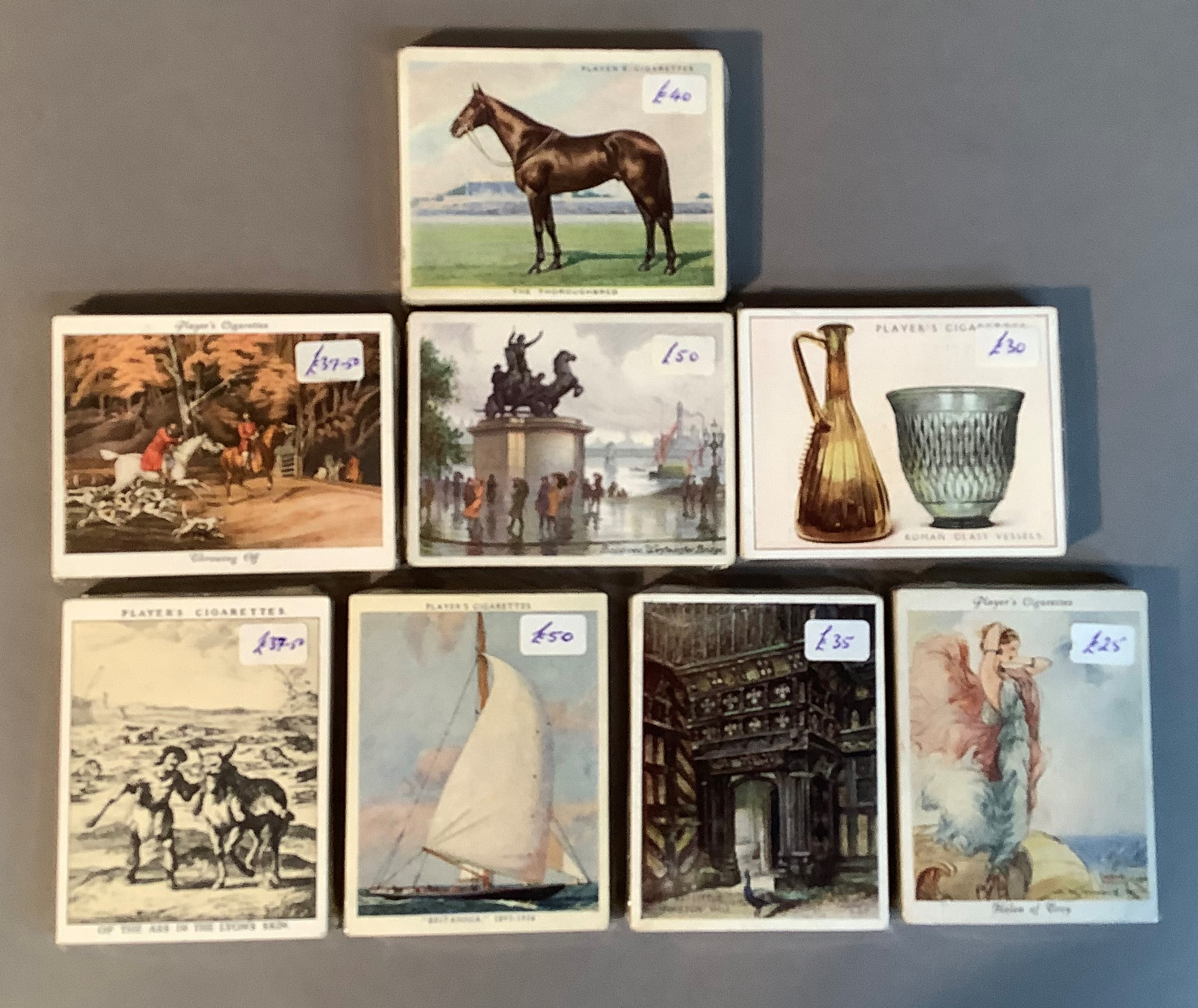 Cigarette cards, John Player & Sons, to include Picturesque London (25), Portals of the Past (25),