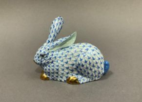 A Herend porcelain rabbit in blue, white and gilt 9cm high