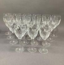 A part suite of Edinburgh crystal Montrose design glassware comprising eleven red wines and seven