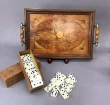 An Edwardian two handle rectangular tray, the field inlaid' painted and decorated with musical