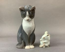 A Bing and Grondhal sitting cat and mouse, 12cm and 4.5cm high respectively (2)