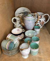 A Bursley ware jug, a Masons Formosa pattern octagonal jug, an Adams Old English Sports pattern