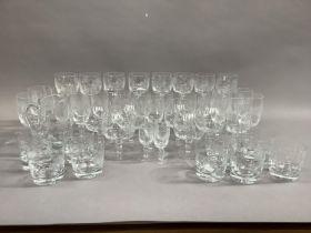 A part suite of Polish table glass comprising wine hocks, brandy glasses, tumblers, liqueurs, etc,