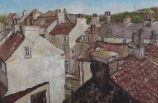 Mid 20th Century British, East Coast fishing village, rooftops, oil on board, unsigned, 61cm x 91.