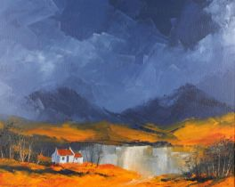 ARR Peter M Drewatt (b. 1957) Gloaming in the North West, lakeside cottages at dusk, oil on