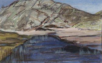 ARR Druie Bowett (1924-1998), mountain landscape, pen, pastel and colour wash, signed to bottom