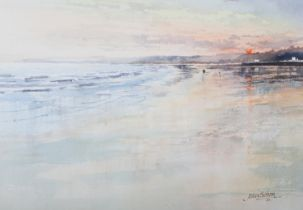 ARR John Sibson (b.1942), 'Filey,' coastal landscape at sunset, watercolour, signed and dated (19)95