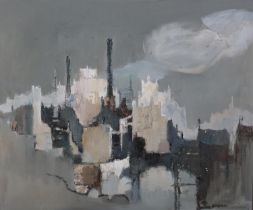 ARR Ernest R. Kirkness (1900-1979), Northern City, oil on board, signed to lower right, titled