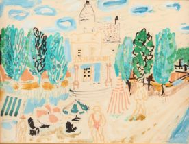 ARR Carlos Nadal Spanish (1917-1998), Hotel with trees and sunbathers, mixed media, signed to