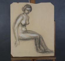 ARR Druie Bowett (1924-1998), study of a female nude, sitting, charcoal with white, signed and dated
