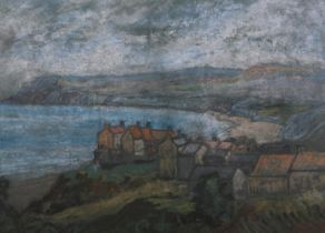 20th century British, Robin Hood's Bay, a rainy day, pastel, unsigned, 23cm x 41.5cm