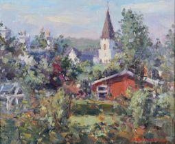 ARR J. D. Henderson, Scottish, 20th Century, 'The White Church, Comrie (From Nurse's Lane),' oil