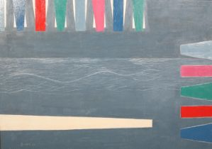 ARR Druie Bowett (1924-1998), Nautic II, abstract seascape, oil on canvas, signed and dated (19)96
