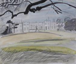ARR Druie Bowett (1924-1998), Hazlewood Castle, nr.Tadcaster, pen and ink, pencil and colour wash,