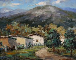 20th Century European, mountain landscape with white washed houses, oil on canvas, indistinctly