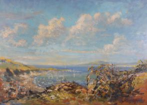 Mid 20th Century European, Coastal landscape with sailing dinghies in a bay, oil on board,