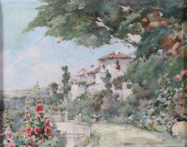 M. Dominguez, 20th Century, Spanish villa and gardens, oil on canvas, signed to lower left, 21cm x