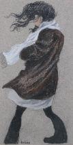 ARR Brian Shields 'braaq' (1951-1997), portrait of a girl on a windy day, full length, pastel,