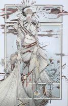 ARR Graham Illingworth (b. 1953), The Foreigner, warrior-like female, standing, wearing elaborate