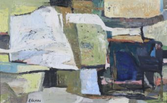 ARR Iris Blain (b.1918), abstract, oil on board, signed to lower left. 33cm x 53cm.