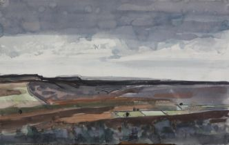 ARR Druie Bowett (1924-1998), moorland landscape, pan and ink and colour wash, unsigned, 35cm x