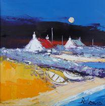 ARR John Lowrie Morrison, OBE (JOLOMO), Scottish (b.1948), 'Moonrise, Isle of Berneray,' shoreline