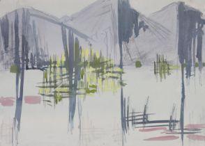 ARR Druie Bowett (1924-1998), mountains and trees, colour wash, unsigned, 36cm x 51cm. Provenance: