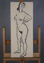 ARR Druie Bowett (1924-1998), study of a female nude, standing, pen and ink, initialled and dated (