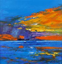 ARR John Lowrie Morrison, OBE (JOLOMO), Scottish, (b.1948), 'Storm over Isle of Staffa,' oil on