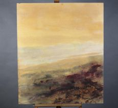 ARR Jo Simmons, moorland at sunset, oil on board, signed verso, 102cm x 87cm