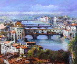 ARR Tony Brummell Smith (b.1949), Ponte Vecchio, Florence, pastel, signed to bottom right, 81cm x