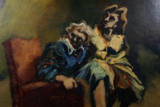 ARR John McCombs (b.1943), portrait of two females, sitting, three-quarter length, oil on board,