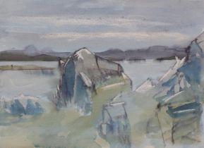 ARR Druie Bowett (1924-1998), shoreline with rocks, pen and ink, colour wash with wax resist,