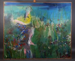 ARR Alan Pergusey, man and woman in a meadow strewn with wild flowers, oil with dried grass and