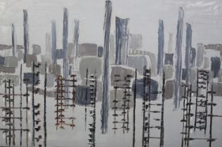 ARR Druie Bowett (1924-1998), Industrial landscape, abstract, oil on canvas, incised signature and