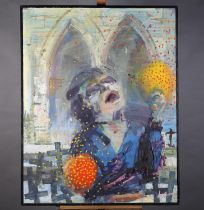 ARR Alan Pergusey, Blind Beggar Woman Playing Maracas and Singing, oil with cloth on canvas,