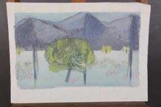 ARR Druie Bowett (1924-1998), mountain landscape and trees, pen, pencil and wash, not signed, 27cm x