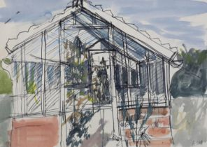 ARR Druie Bowett (1924-1998), Our Old Greenhouse, pen and ink and wash, signed to lower right,