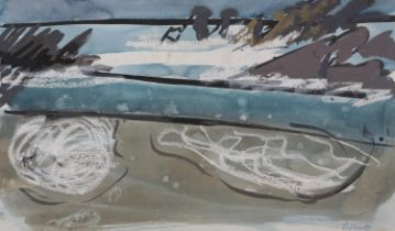 ARR Druie Bowett (1924-1998), shoreline, pen and ink, colour wash with wax resist, signed to lower