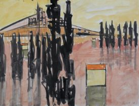ARR Druie Bowett (1924-1998), Reflections, pen , pencil and colour wash, signed and dated (19)61
