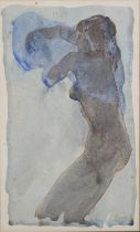 Mido, 20th Century, reclining nude female, three quarter portrait, colour wash over pen, signed to
