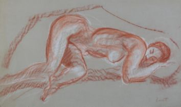ARR Druie Bowett (1924-1998), study of a female nude, sleeping, red crayon with white, signed to
