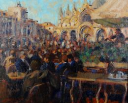 ARR John Mackie (b.1955), St Marks Square, Venice, oil on canvas, signed and dated (19)92 to lower
