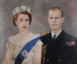 ARR Reginald James Mitchell Aird (1890-1960), Queen Elizabeth II and Prince Philip, portrait, head