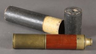 An early 20th century brass and mahogany three draw telescope, in case