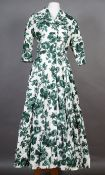 A Droopy & Brown green and white printed cotton summer dress shawl collar, button through, three